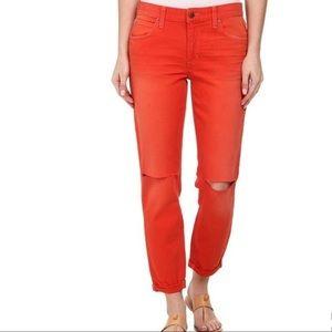 Joe's Orange Slim Capri Cropped Stretch Jeans